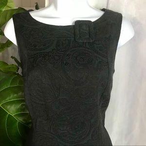 DAVID MEISTER black paisley work dress. Sleeveless